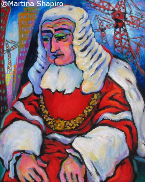 Building Precedents, original painting of judge lawyer by artist Martina Shapiro.