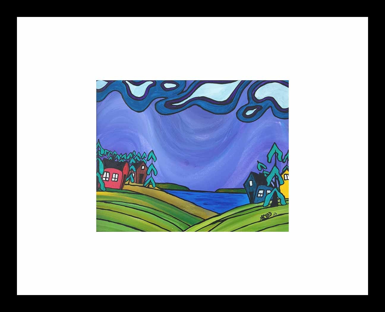 """Living Lakeside"" [2017] Image 9.5"" x 7.5"" Framed 20"" x 20"" Acrylic on 246 lb. paper $200.00"