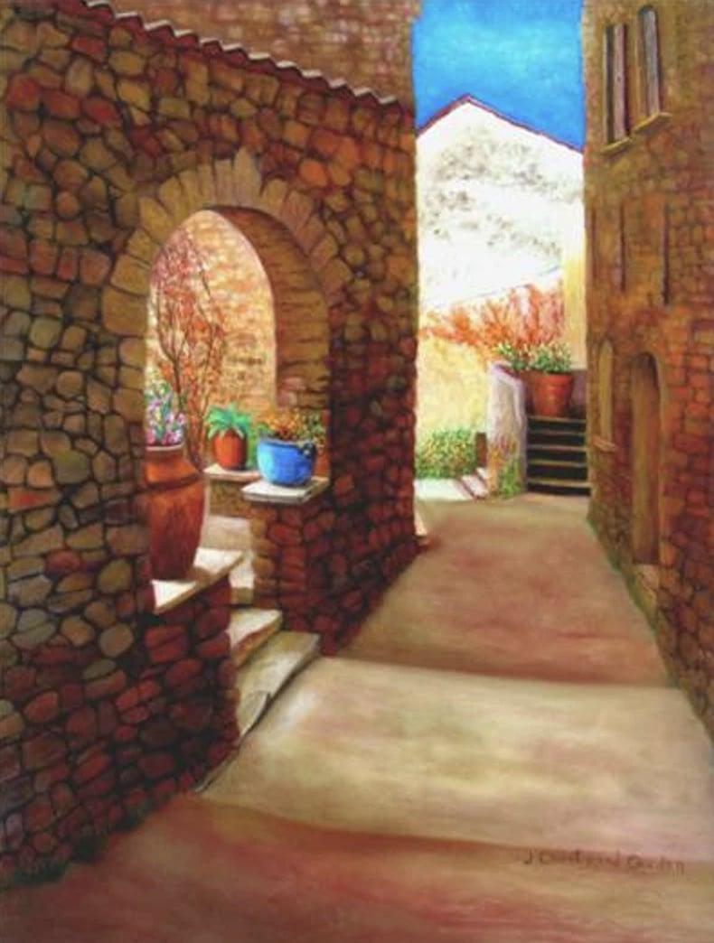 "Terrasses médiévales Pastel  24"" x  18"""