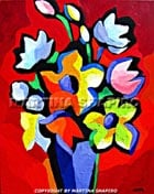"""SOLD. """"Abstract Flowers on Red"""" original painting  in acrylic on canvas, 16 x 20 x 1 inches"""