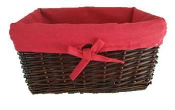 "CBL825RD Rectangular willow basket w/red fabric liner 15""x10""x7""H"