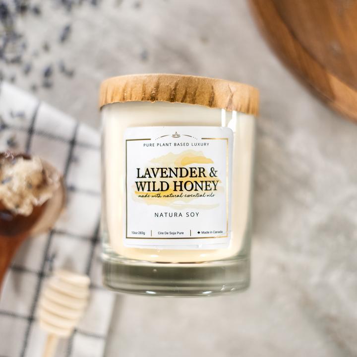 Lavender & Wild Honey Sweet Lavender, crisp Bergamot, Palmarosa, dry Sage, woody, Tonka Bean and sweet vanilla.
