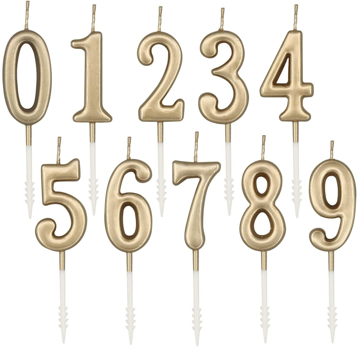 Numbered Candles, champagne gold