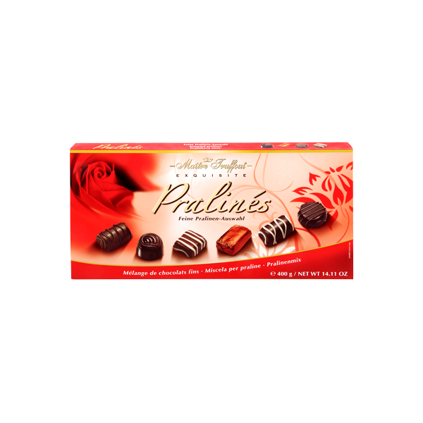 MT400RD Maitre Truffout assorted Red rose pralines..400 gr