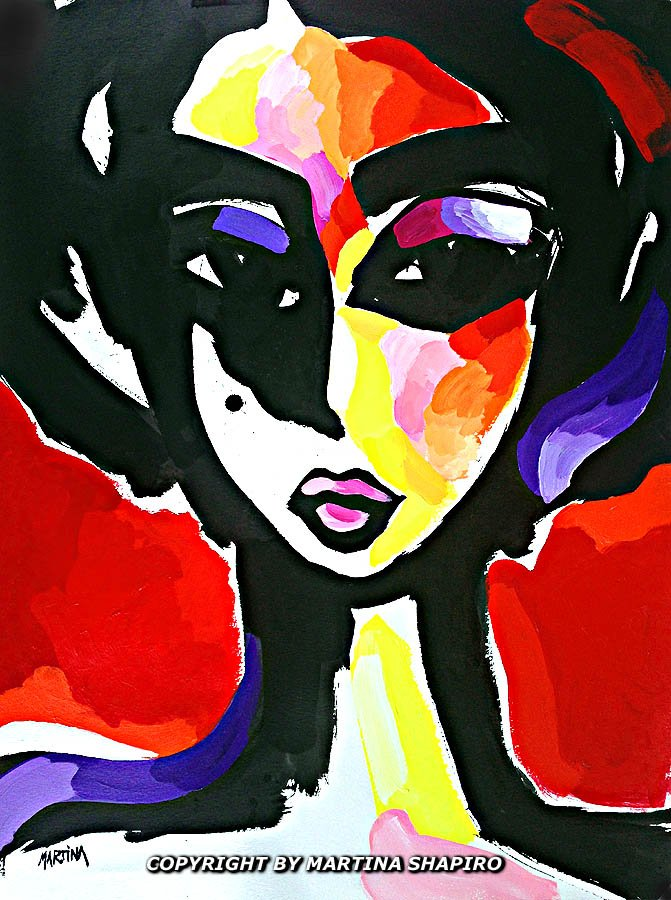 """Red and Purple Girl"" original painting by artist Martina Shapiro"