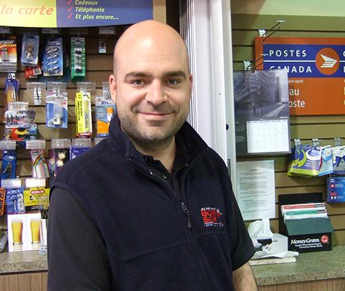 Happy male customer