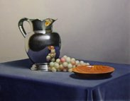 """Silver Pitcher, Grapes, and Wooden Bowl"" 16"" x 20"" Alkyd on hardboard $ 4100"