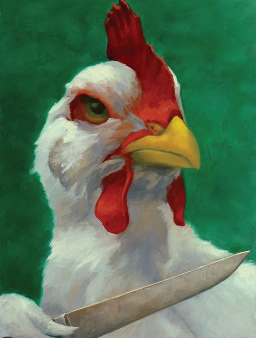 """Who's Chicken Now? 12"""" x 16"""" / sold oil on birch panel"""
