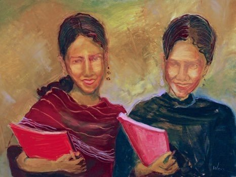 "Girls from Room for Reading oil  30"" x 40"""