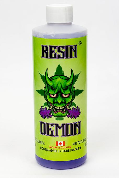 """Resin Demon Cleaner is the first and only cleaning solution that coats all those hard to reach places including percolators, down stems and your most delicate glass. Resin Demon is safe to use on all surfaces so there is no need for more than one bong cleaner. It contains no salt, isopropyl alcohol, acetone or other harsh abrasives. Resin Demon is the only national brand with a Material Safety Data Sheet which states """"non-hazardous goods."""""""