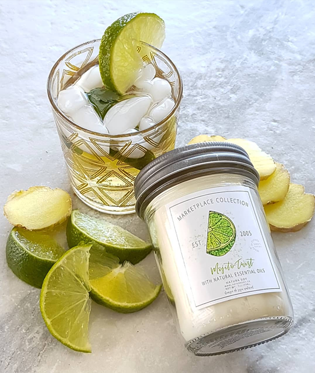 A sunny citrus blend of Kaffir Lime, Italian Bergamot and Lemongrass mingled together with sprigs of fresh mint, bay leaf, anise and geranium.