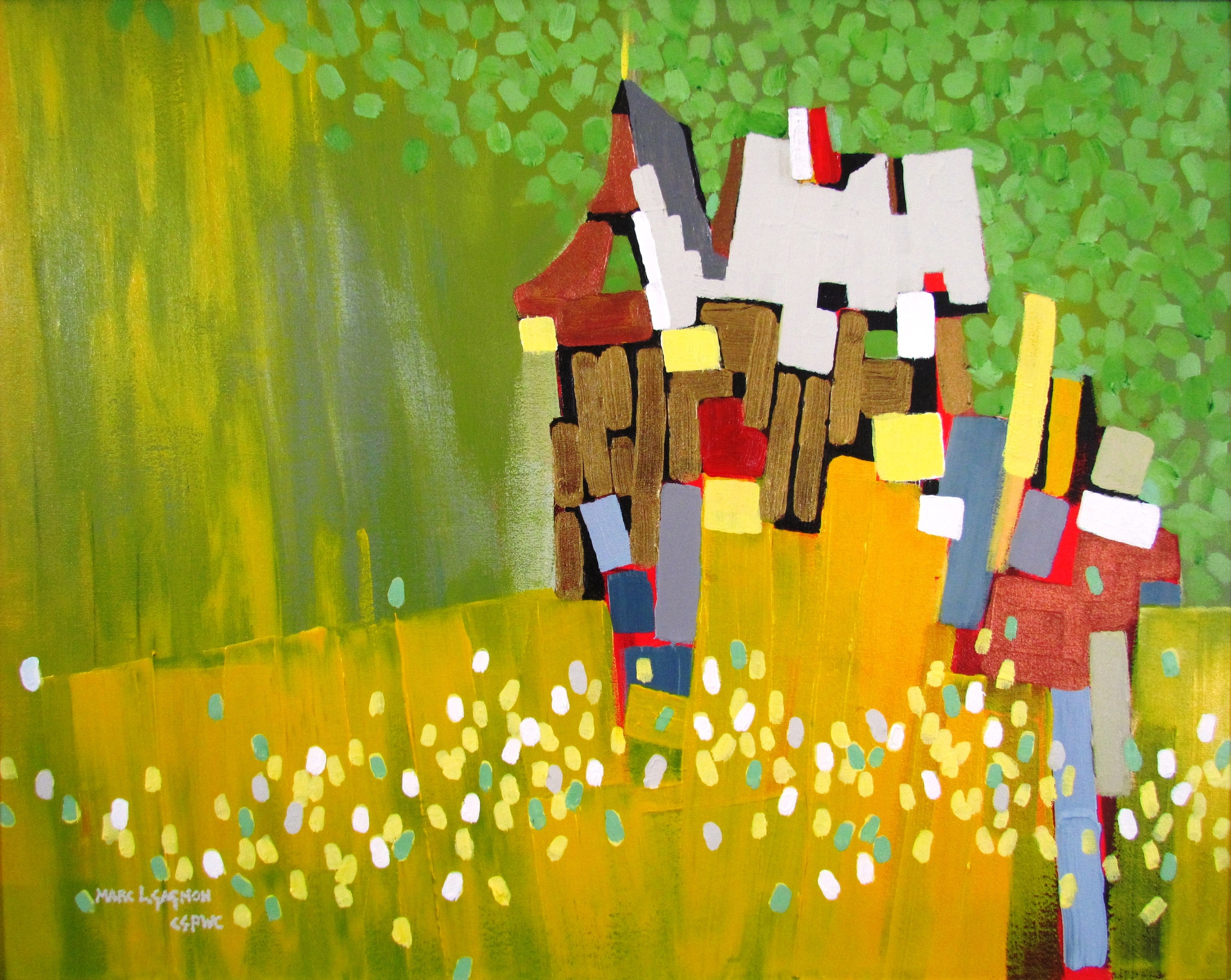 "Barn Mosaic  11"" x 14"" acrylic SOLD"