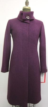 Style # 1596 - Violet  Boiled Wool  Features:  Slim fit Coat, Fly front hidden button closure, High fold over collar. Knee length.  Available in:  Boiled Wool, Cashmere & Wool,  Pure Virgin Wool  Various Colours:  Black, Red, Grey Camel or can  be made in the colour of your choice.  Sizes:  S, M, L  $599 and up