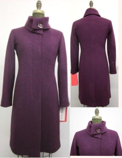Style # FF1596 - Plum  Boiled Wool  Features:  Slim fit Coat, Fly front hidden button closure, High fold over collar. Knee length.  Various Colours:  Black, Red, Grey Camel or can  be made in the colour of your choice.  Made From Fabrics Imported From Italy and Other  European Countries: Boiled Wool, Cashmere or  Cashmere Blend, Alpaca 100% Pure Virgin Wool  Can be custom ordered.  Sizes:  S, M, L  $599  and up