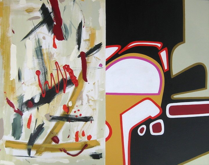 """Val Sloggett   """"Merging Times""""  2020  A/C  24""""x30"""" Available at ModernArts London"""