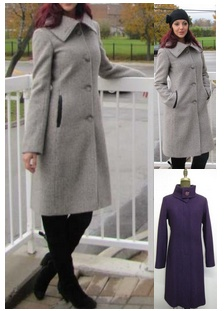Style 1596 Grey Tweed (left),  Violet (Right)  100% Pure Virgin Wool  Features:  A wide spread collar tops the clean,  fitted  design. Collar can be fastened to form a funnel neck.   This rich wool-blended coat is elegantly styled with a single-button closure at the neck. Genuine lambskin leather trim. Includes extra buttons. Chamois lined for warmth.  Available Fabrics: Boiled Wool, Cashmere or Cashmere Blend, Alpaca 100% Pure Virgin Wool  and more.  In-Stock Colours:. Tweed Cream, Almond, Gray, Red, Black, Silver or can be custom made in any colour or fabric.  Size: S,M,L  Price: $ 549 and up