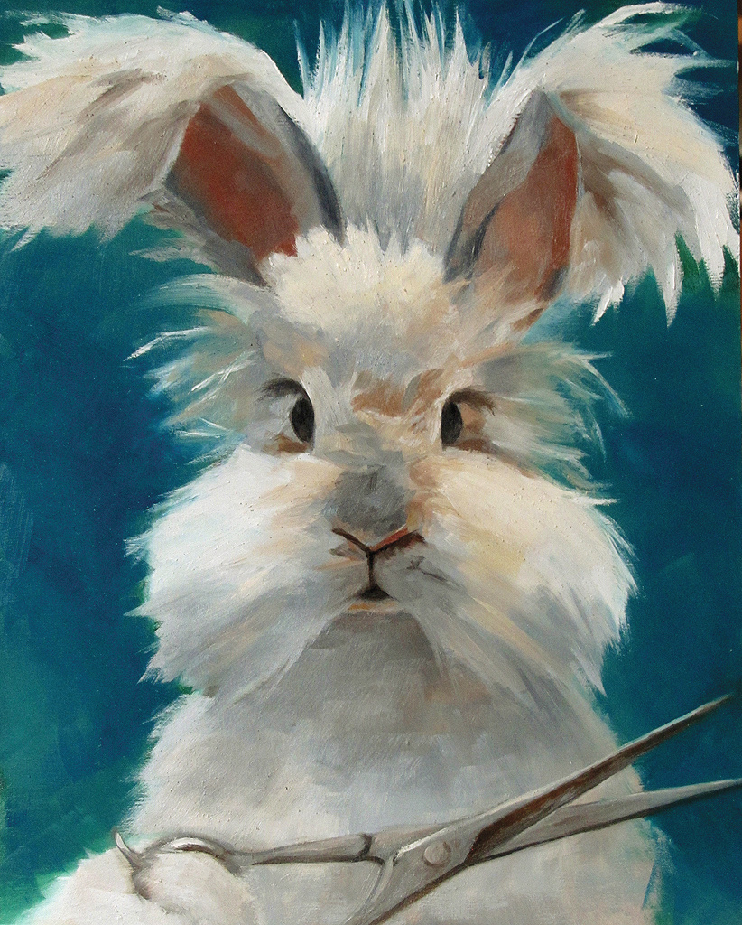 """Bad Hare Day 8"""" x 10"""" / sold oil on birch panel"""
