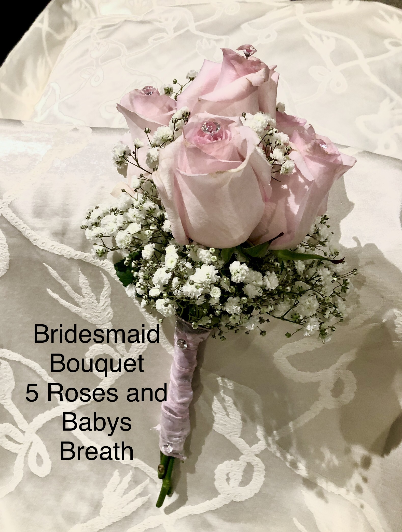 Bridesmaid Bouquet 5 Roses and Babies Breath