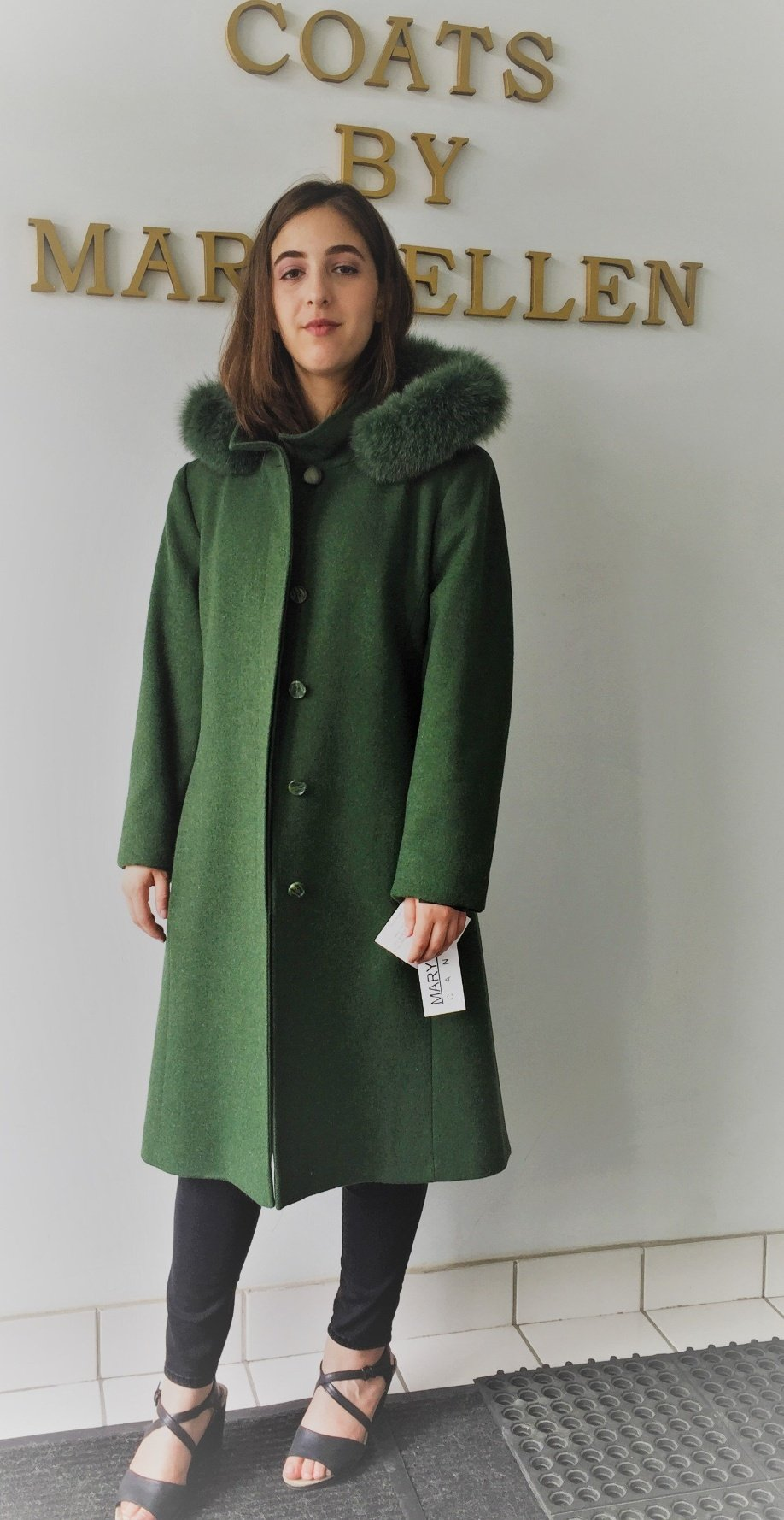 Style#4066-18   Kelly Green  100% Pure Virgin Wool  Features:  Classic styling and optimum comfort.  This coat comes with a genuine fox trimmed detachable hood. Coat has a stand  collar, ideal for keeping the chill out on cold windy days. Full chamois lining.  Includes extra buttons.  In-Stock Colours:  Kelly Green, Plum, Sangria, Black,  Navy  or can be made in the colour of your choice.  Various Fabrics: Cashmere and Cashmere/Wool Blends,  Alpaca blends, 100% Pure Virgin Wool and  other fine fabrics   Sizes: S, M, L  Price:  $599 and up