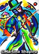 Fiddler Abstraction original Jewish painting by artist Martina Shapiro contemporary modern Judaic fine art