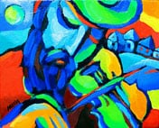 Fiddler, original Jewish contemporary fine art by artist Martina Shapiro