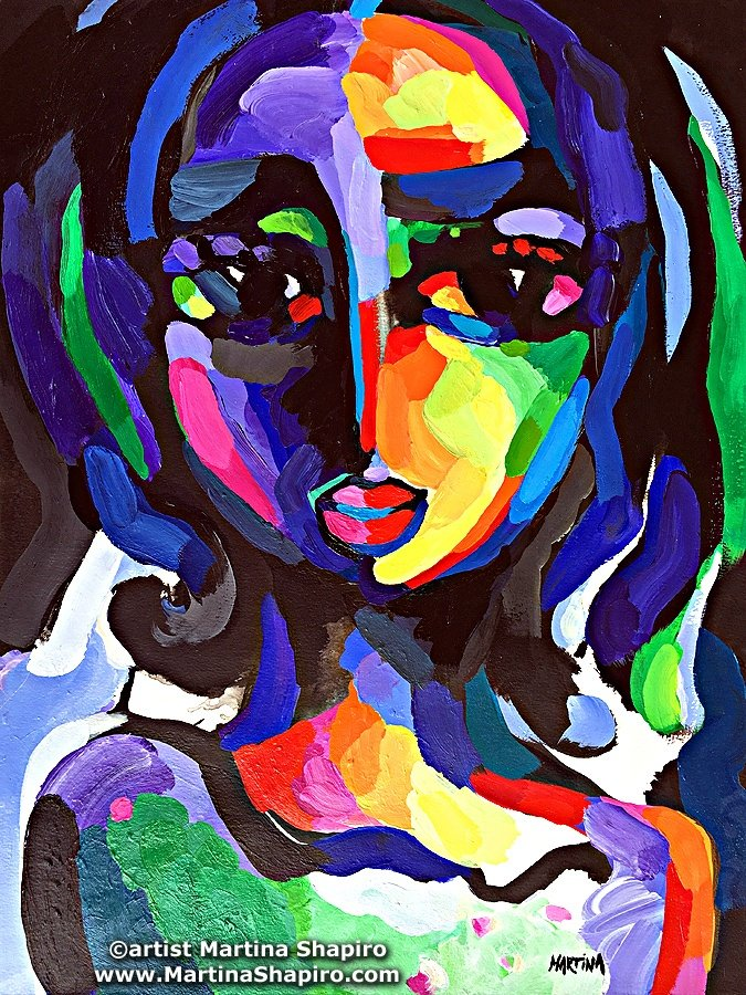 Girl On Purple original painting by artist Martina Shapiro