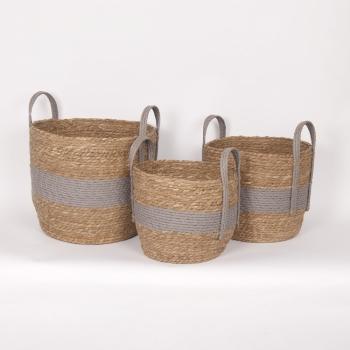 "Grey Handle Straw Basket Small 10""d x 9""h - $19.99 Medium 12""dx11""h - $29.99 Large 14""d x 12""h  $39.99"