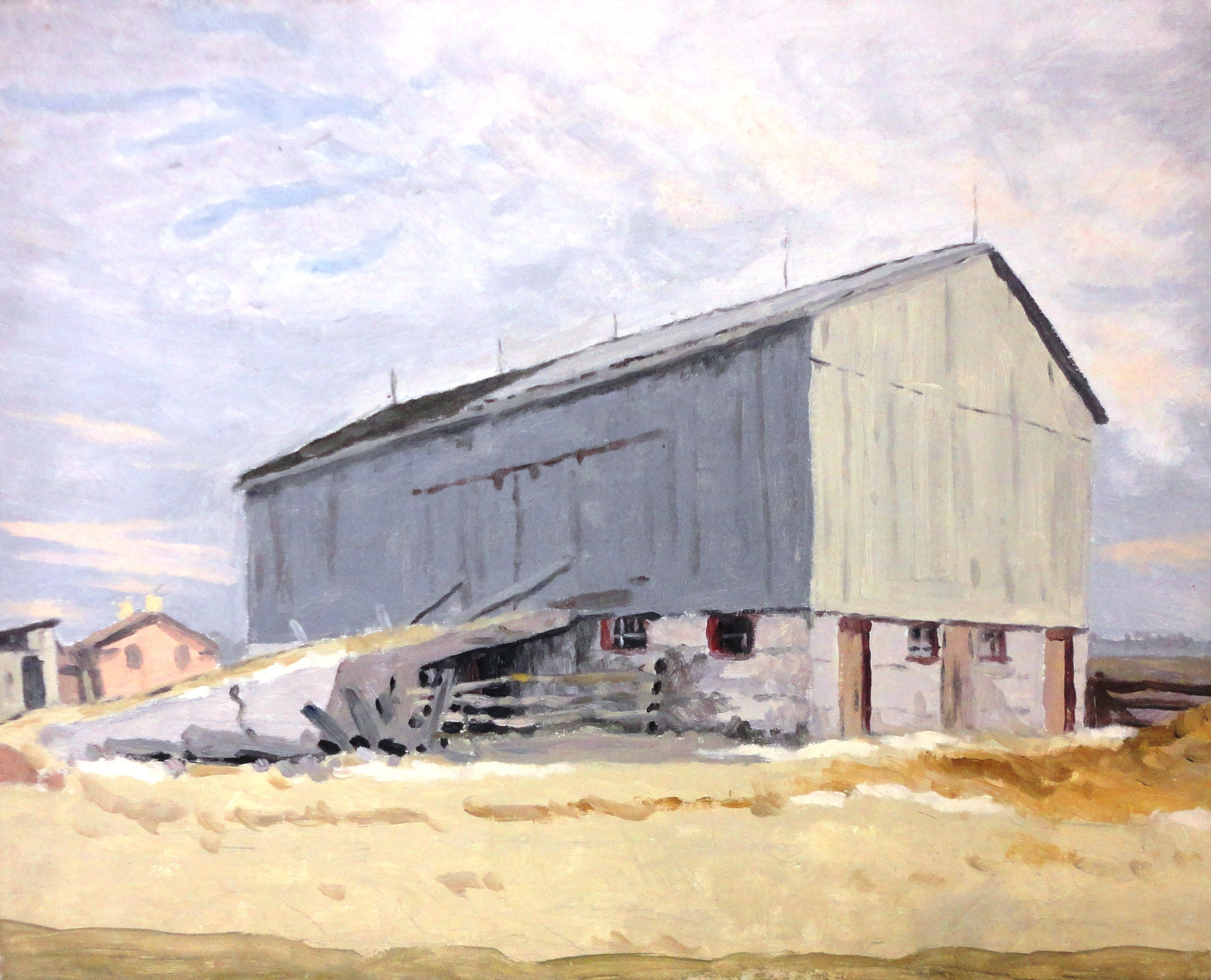 Untitled, barn, Oil on board