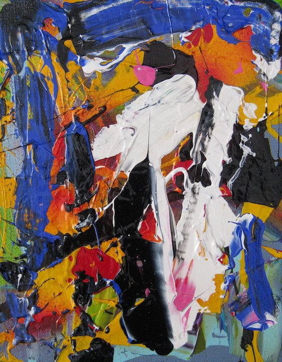 """Ross Bishop """"Freefall""""  2021 A/C  14""""x11"""" Available at LaParete Gallery - Toronto"""