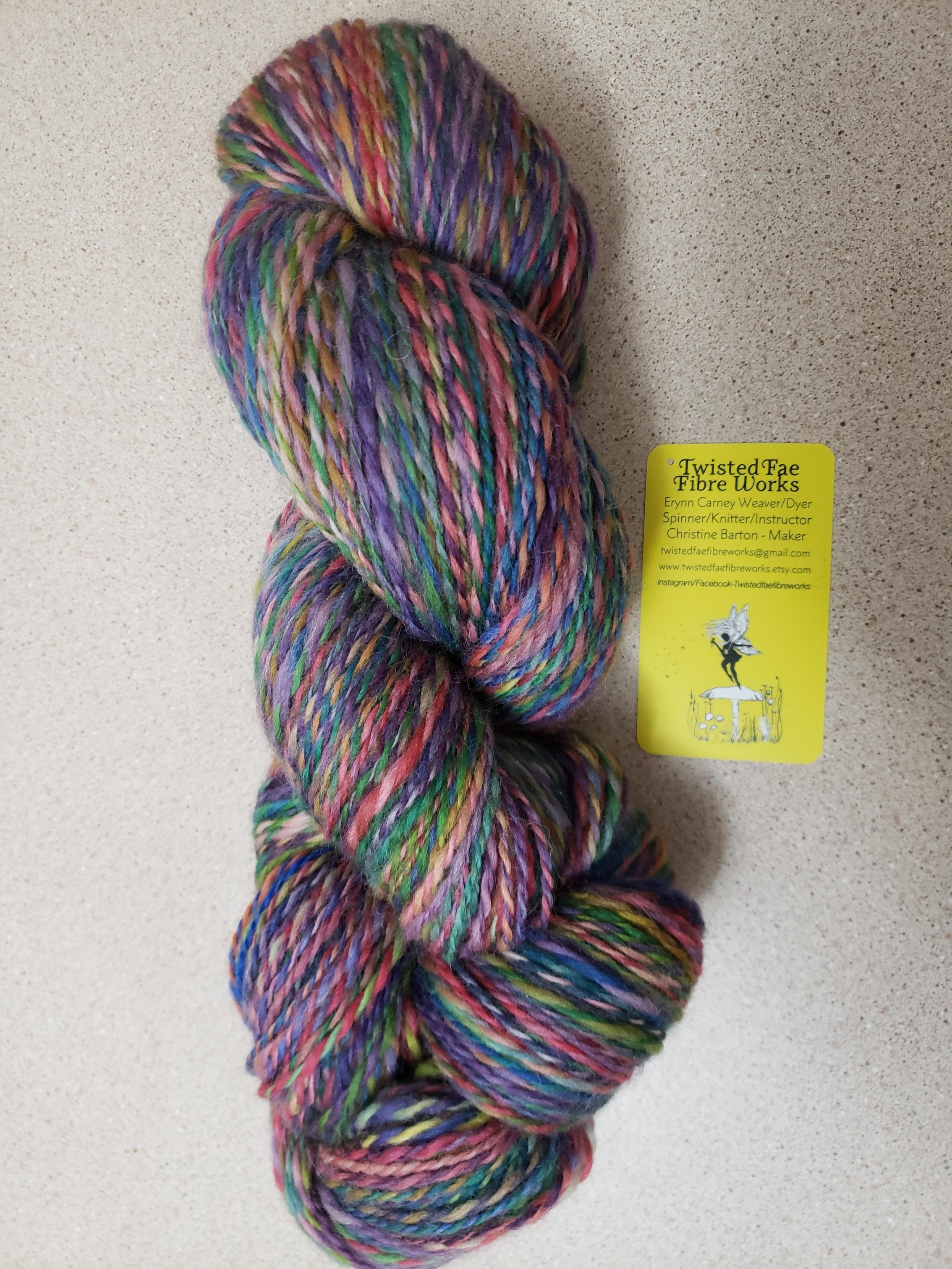 Birthe - dyed merino  as 2 ply handspun.