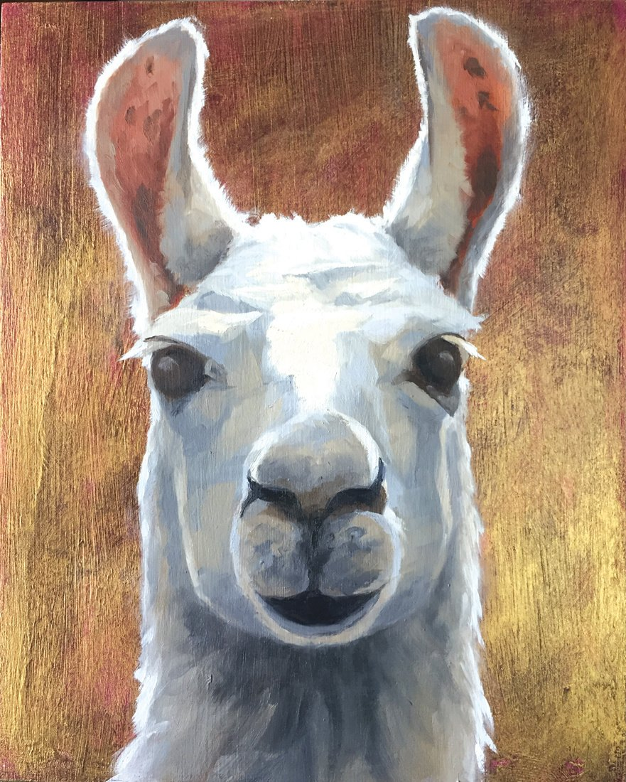 "Dali Llama 8"" x 10"" oil on wood panel"