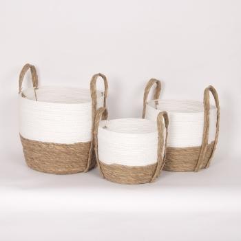 "White & Natural Straw Basket Small 10""d x 9""h - $19.99 Medium 12""dx11""h - $29.99 Large 14""d x 12""h  $39.99"