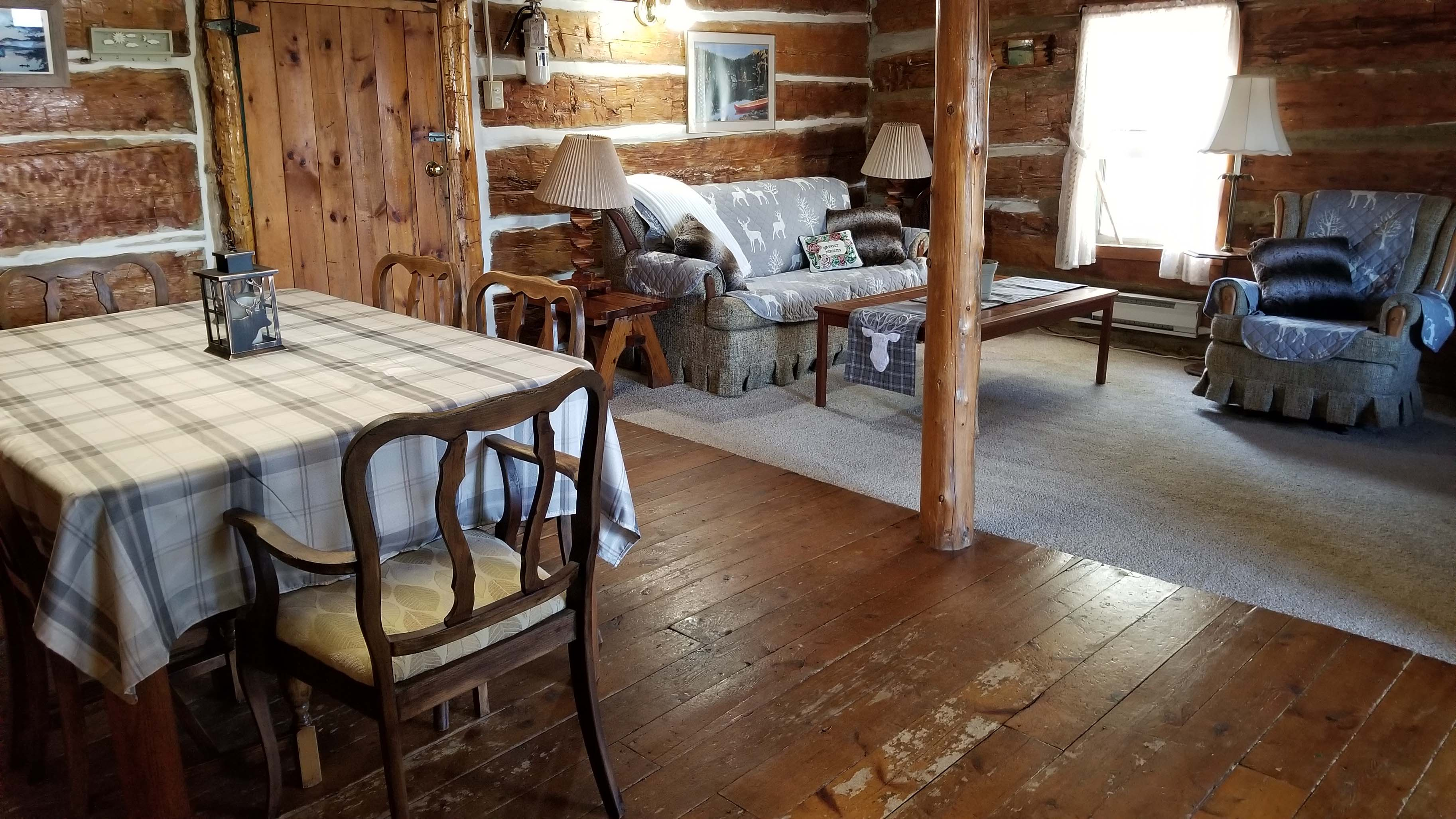 Log House dining and living room