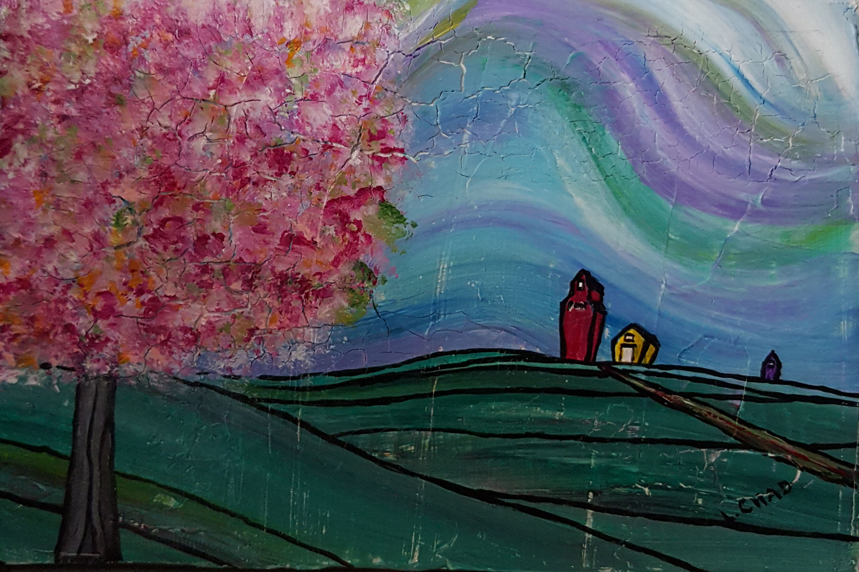 """Crabapple Prairie"" [2015] Acrylic on canvas. 4.75"" x 7"" (unframed with easel) SOLD"
