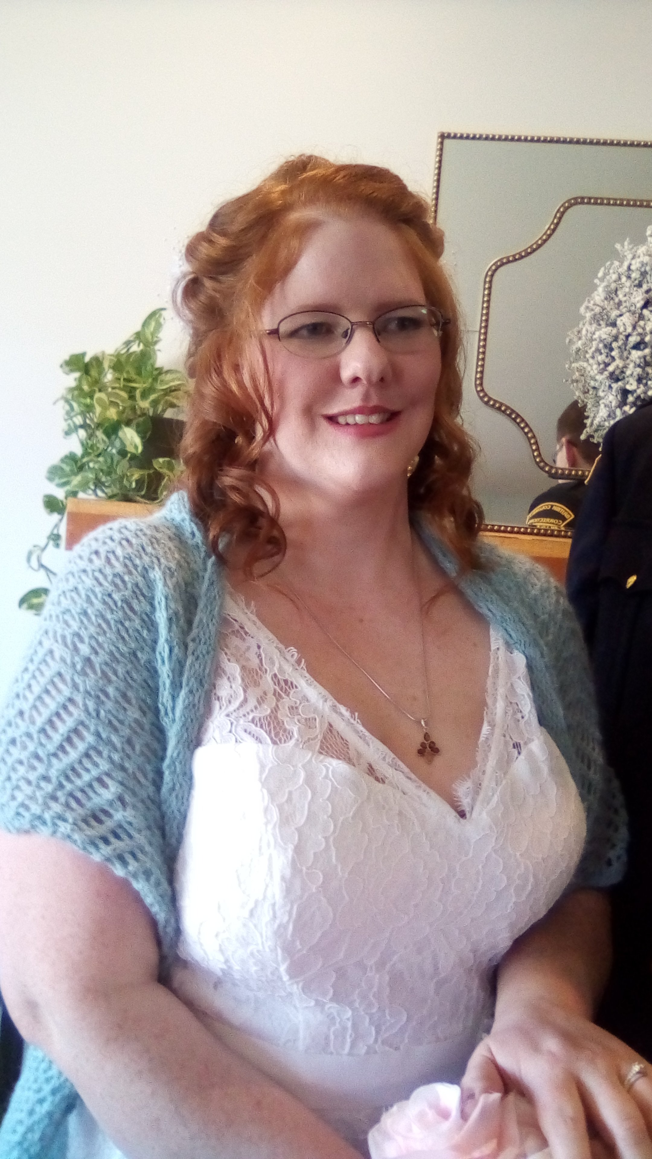 "Debra knit her daughter a beautiful ""something blue"" wedding shawl."