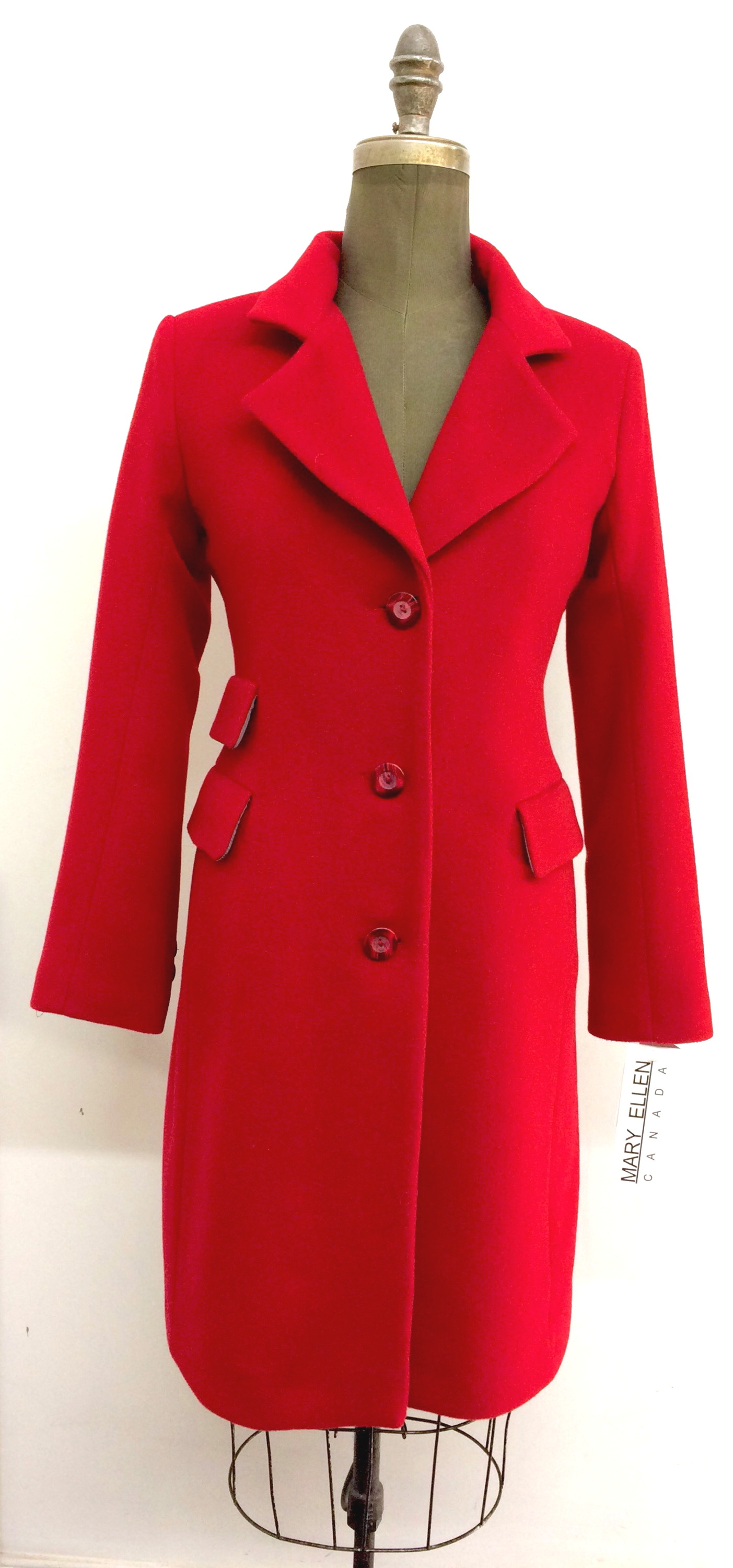 Style # LF1596-6  Ruby Red   Features:  Tailored British look, single breasted, triple pocket, knee length coat. Sleek clean lines, fitted through the waist.  Notched collar.  Buttons dyed to match.  Various Fabrics:  Cashmere or Cashmere Blend,  Alpaca,  100% Pure Virgin Wool and more  In-stock colours: Black, Ruby, Navy, Camel, Charcoal,  Black/Pinstripe Blue or can be custom made in any colour or fabric.   Size: S,M,L  Price: $ 449 and up
