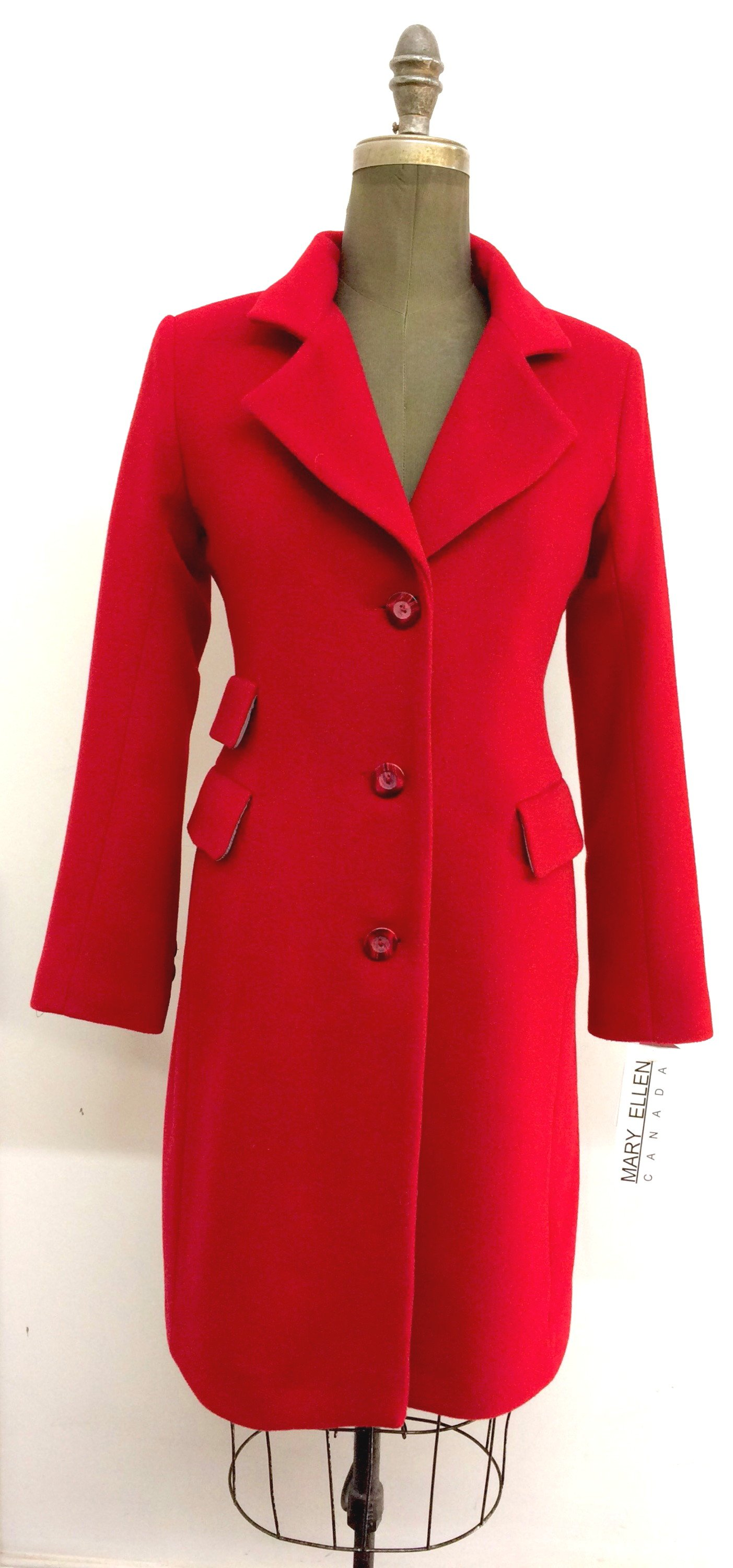 Style # LF1596-6  Ruby Red   Features:  British look,single breasted, triple pocket, knee length coat. Sleek clean lines, fitted through the waist.  Notched collar. Buttons dyed to match.  Various Fabrics:  Cashmere or Cashmere Blend, Alpaca,  100% Pure Virgin Wool and more  In-stock colours: Black, Ruby, Navy, Camel, Charcoal, Black/Pinstripe Blue or can be custom made in any colour or fabric.   Size: S,M,L  Price: $ 449 and up