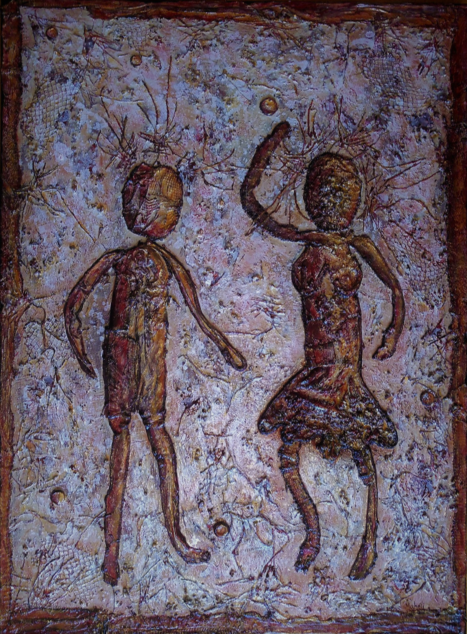 mAHÉLI--COUPLE QUI JOUE--30x40 po/in