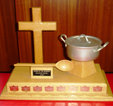 """Souper Bowl"" Trophy presented annually to the winner of the best soup fun competition"