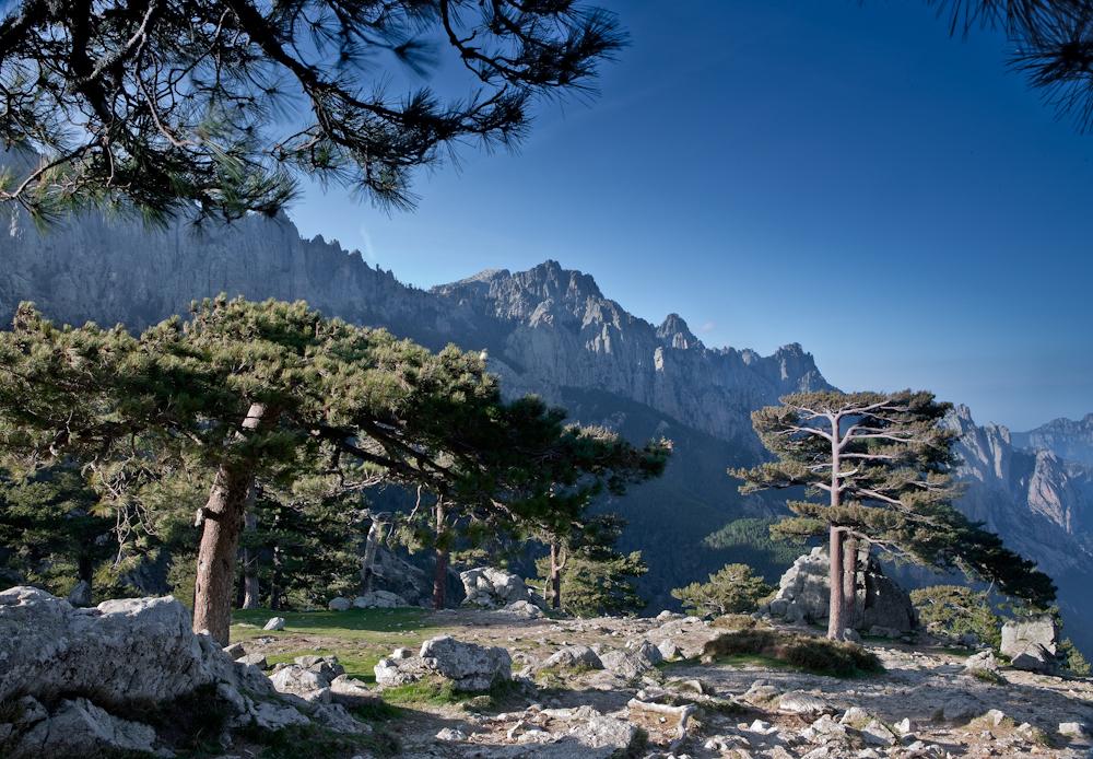 Les Aiguilles de  Bavella pointent à  plus de 2 000 mètres  Sud-est de la Corse  Avrll 2010
