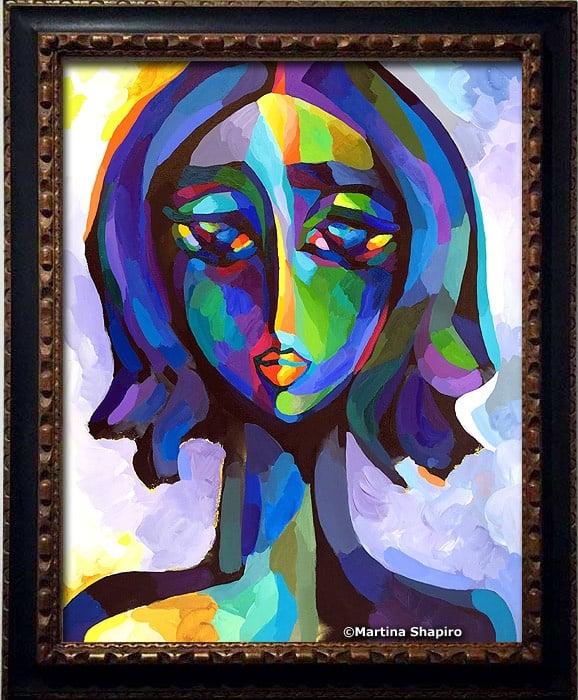 blue woman portrait artist martina shapiro