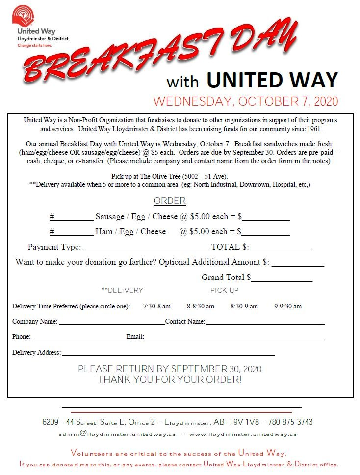 Breakfast day order form