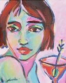 """<b>SOLD. """"Martini Girl""""<br> Oil Painting on canvas,</b>8x10""""."""