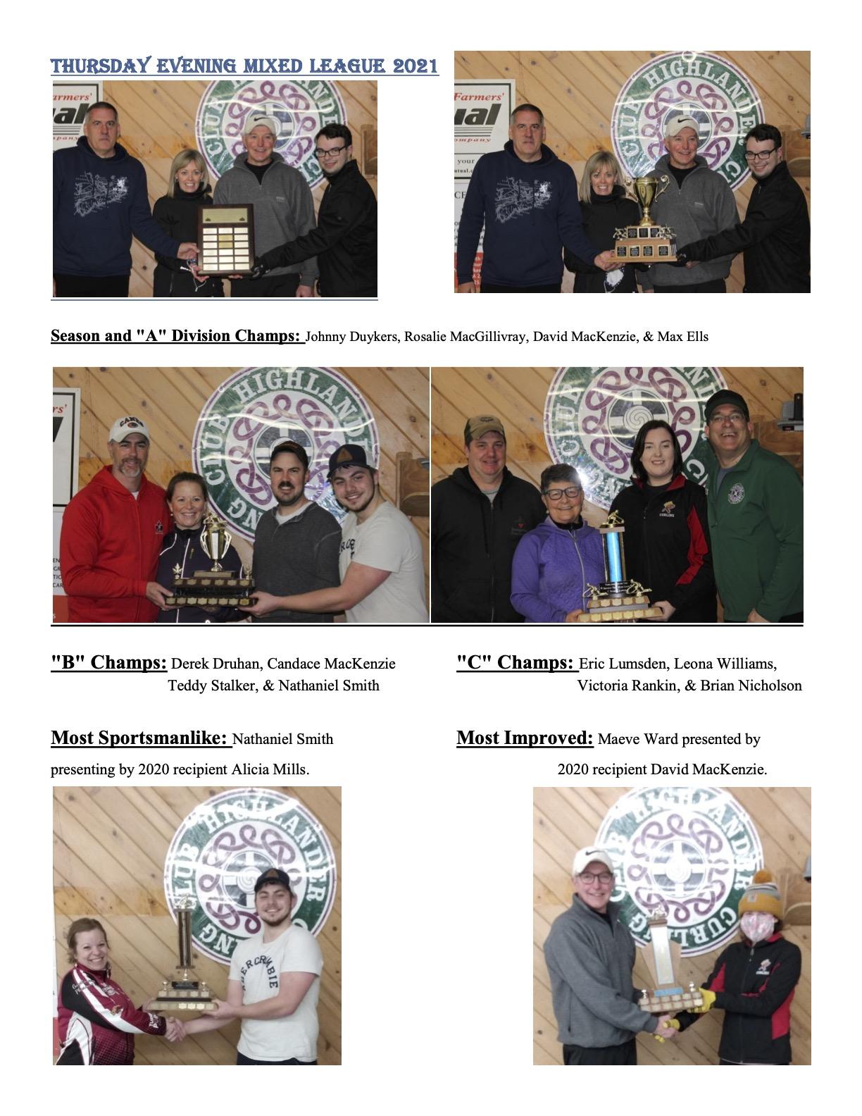Thursday Night League Award Winners