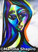 Woman In Purple painting Picasso inspired