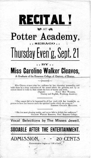 Caroline Walker Cleaves Recital poster