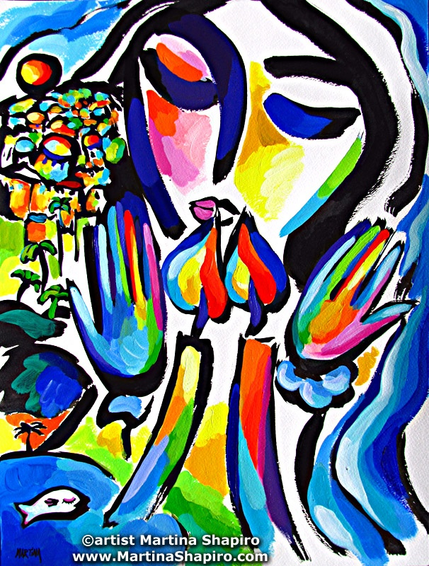 Shabbat Peace original Jewish fine art painting by artist Martina Shapiro