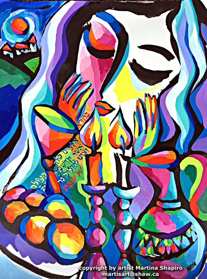 Shabbat Blessing with Challah painting by artist Martina Shapiro