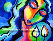 The Light of Shabbat original painting by artist Martina Shapiro Jewish fine art