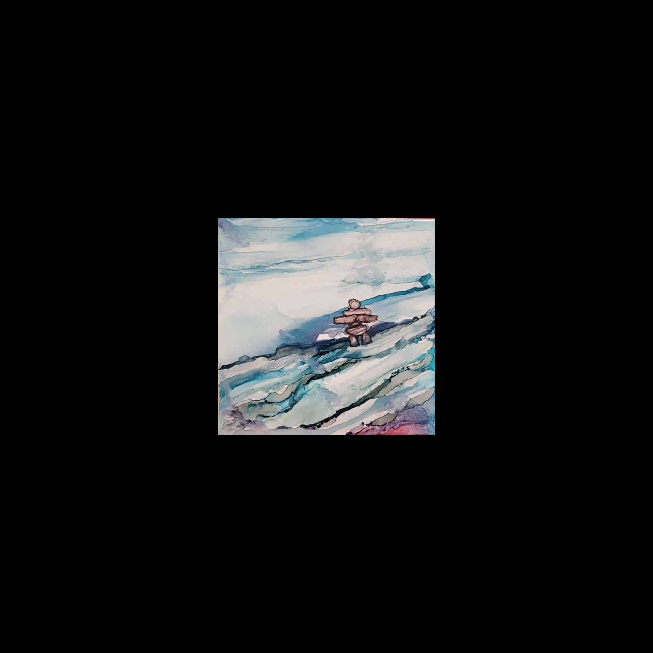 "2019-06 ""Northern Canadian Inukshuk"" Image: 6"" x 6"" Framed: 7.75"" x 7.75"" Alcohol Ink on Ceramic Tile $100.00"